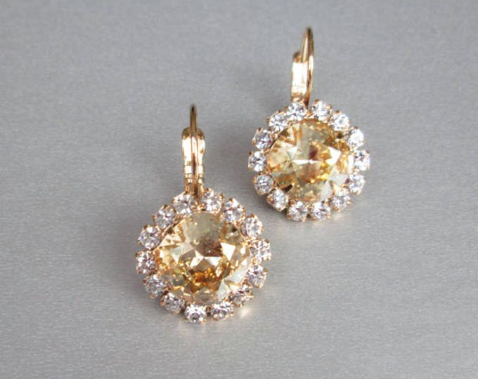 Swarovski crystal bridal earrings, Swarovski earrings in gold or silver, Wedding crystal earrings, Cushion cut earrings champagne crystal