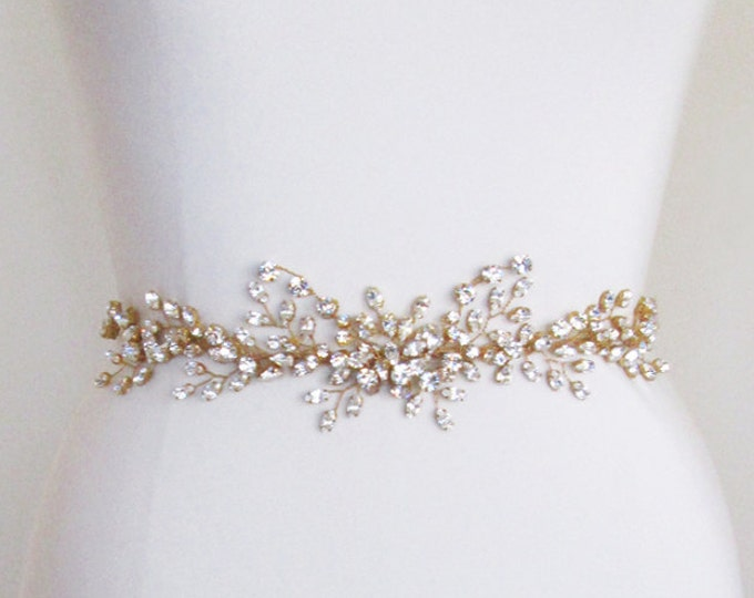 Swarovski crystal belt sash or headband in gold or silver, Bridal crystal belt or headband with organza, Wedding rhinestone belt or headband