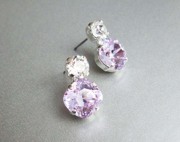 Violet Bridal crystal studs, Dainty crystal studs, Swarovski crystal bridal earrings, Stud rhinestone earrings in gold, silver, rose gold