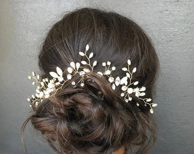 READY TO SHIP - Swarovski crystal bridal hair vine, Wedding hair comb, Swarovski bridal comb, Opal bridal rhinestone headpiece, White opal