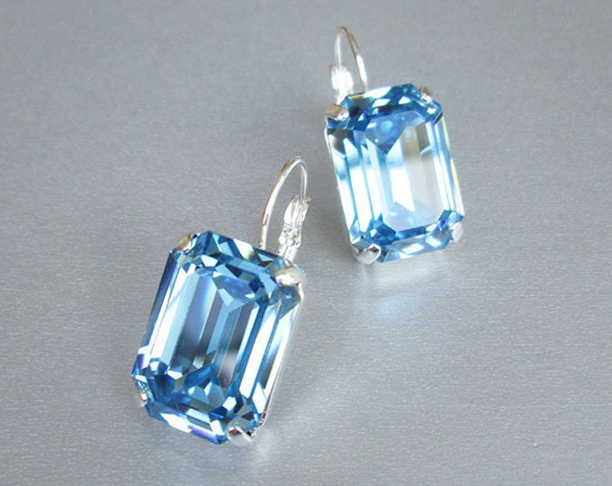 Blue aquamarine Swarovski crystal bridal earrings, Emerald cut Swarovski drop earrings, Rhinestone earrings, Wedding earrings gold, silver