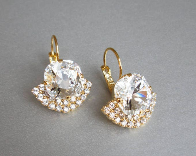 Gold bridal crystal earrings, Swarovski crystal bridal earrings, Drop earrings, Wedding rhinestone earrings in gold, silver, rose gold