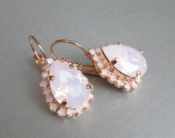 Rose gold bridal earrings, Swarovski crystal pink opal bridal earrings, Drop earrings, Rose water opal earrings in gold, silver, rose gold