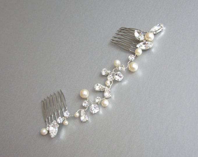 Swarovski crystal hair vine, Bridal comb, Wedding hair vine, Crystal and pearl hair comb, Bridal comb in gold, rose gold, silver