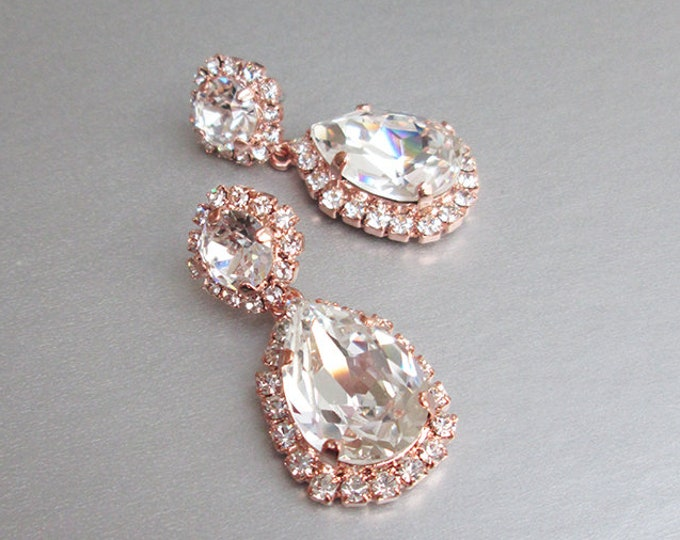 Bridal crystal earrings, Swarovski wedding earrings, Teardrop dangling earrings,  Bridal rhinestone drop earrings gold, silver, rose gold