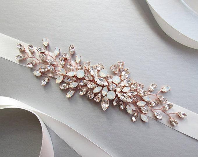 Rose gold bridal Swarovski belt, Crystal belt sash in gold, silver, rose gold, Wedding belt, Waist sash, White Opal crystal belt