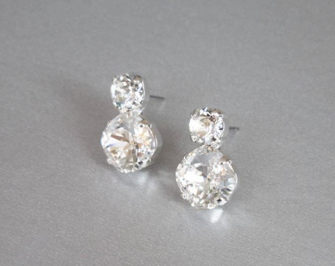 Bridal crystal studs, Dainty crystal studs, Swarovski crystal bridal earrings, Stud rhinestone earrings in gold, silver, rose gold, Wedding