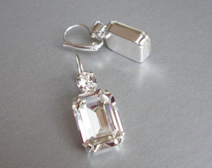 Swarovski crystal bridal earrings, Emerald cut bridal earrings, Rhinestone earrings in gold, rose gold, silver, Wedding drop earrings