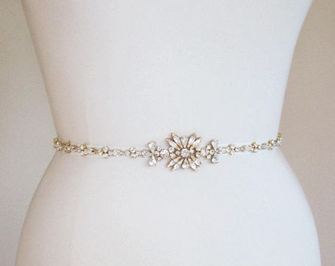 Bridal belt sash, Gold skinny belt, Wedding belt in gold, silver or rose gold, Rhinestone bridal belt, Skinny bridal belt sash, Full length
