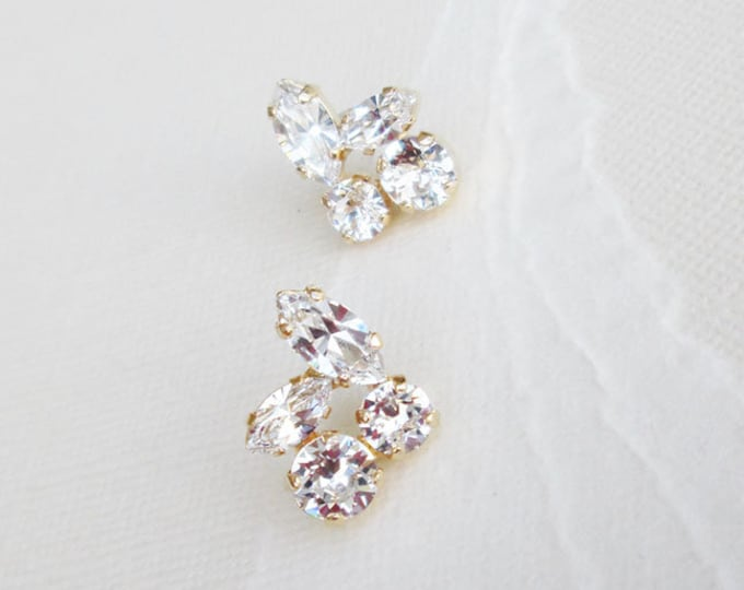 Bridal crystal studs, Dainty crystal studs, Swarovski crystal bridal earrings, Stud rhinestone earrings in gold, silver, rose gold, Wedding