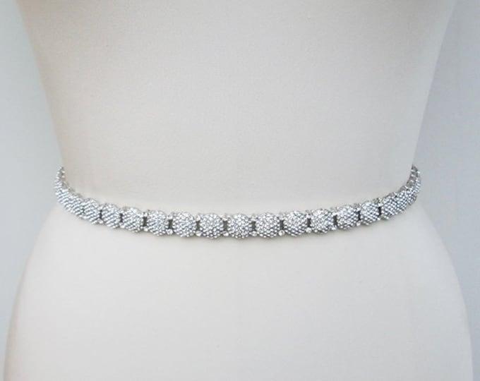 Thin bridal belt sash, Bridal crystal sash, Crystal wedding belt, Rhinestone bridal belt sash, Half inch wide belt in silver