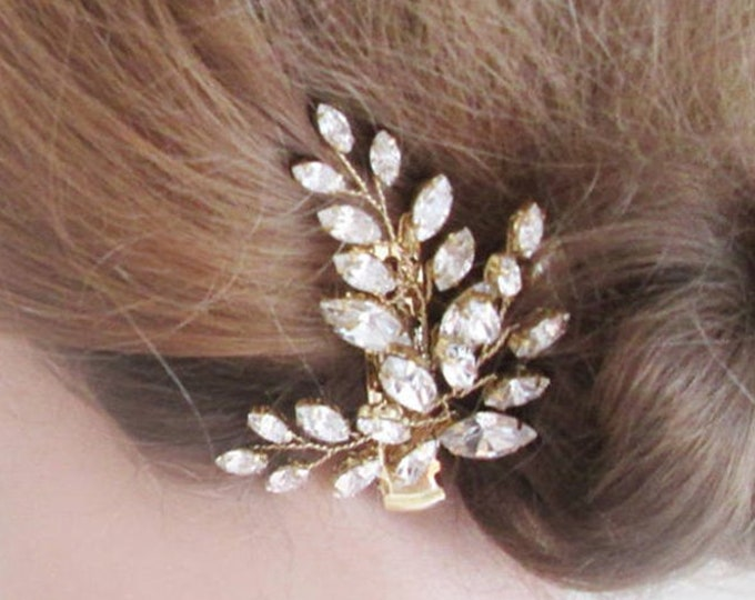 Bridal hair pin clip, Swarovski crystal hair clip, Wedding crystal pin, Leaf crystal alligator hair clip, Silver or gold rhinestone pin