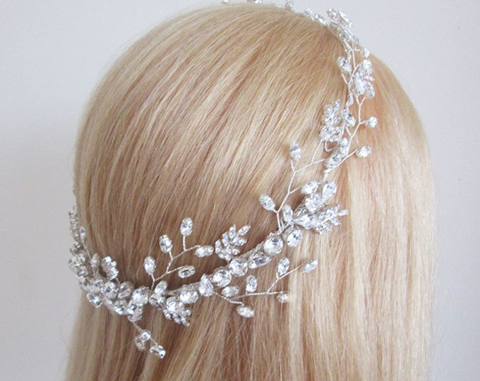 Swarovski crystal circlet headband in gold, silver, rose gold, Bridal crystal halo headband, Wedding rhinestone headband circlet hair vine
