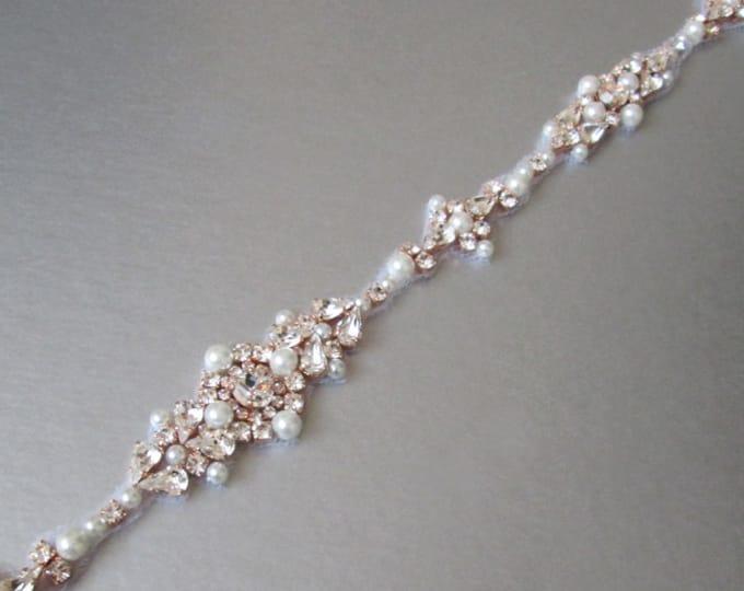 Bridal belt rose gold, Swarovski bridal belt sash, Wedding belt in Gold, Silver, Rose gold, Skinny belt sash, Crystal and pearl belt sash
