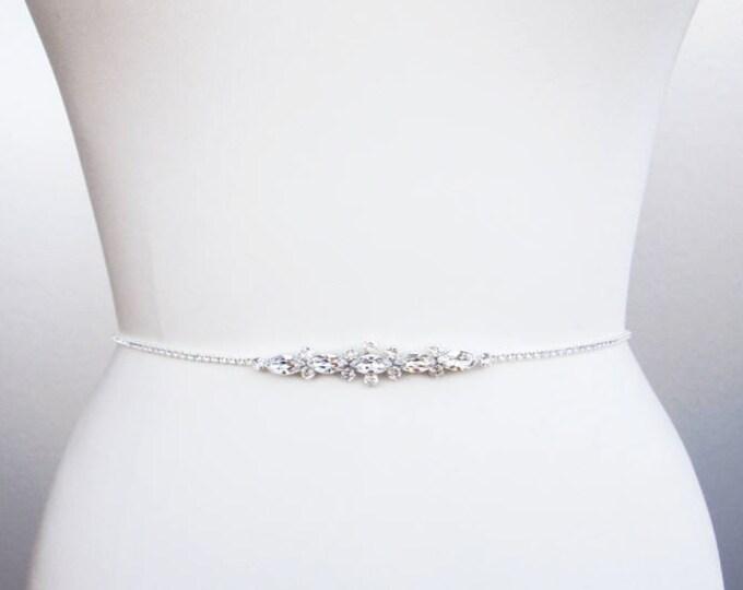 Swarovski bridal belt, Super skinny bridal belt, Dainty crystal belt sash, Swarovski crystal belt, Thin belt in gold, silver, rose gold