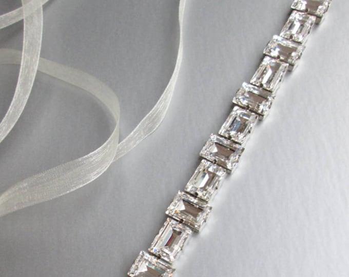 Swarovski crystal bridal belt sash, Bridal belt sash, Bridal crystal sash in gold or silver, Wedding belt in gold or silver, Swarovski belt