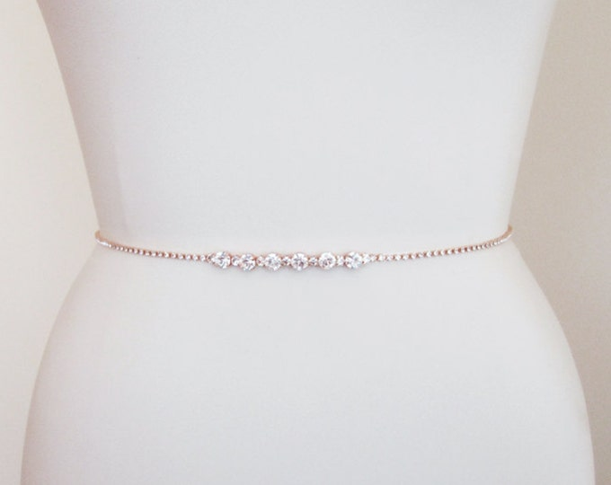 Rose gold bridal belt, Super skinny bridal belt, Dainty crystal belt sash, Swarovski crystal bridal belt sash, Super skinny rhinestone belt