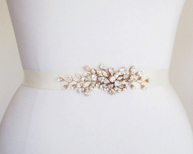 Bridal Swarovski crystal belt, Crystal belt sash in gold, silver, rose gold, Wedding belt, Rhinestone beaded belt, Swarovski sash