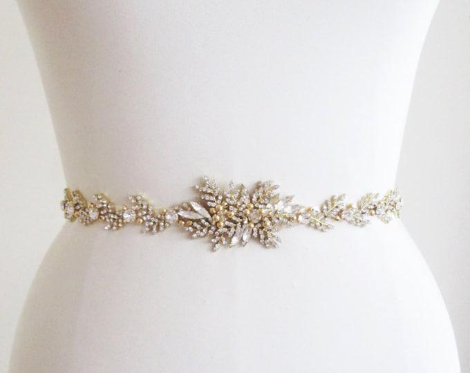 Bridal crystal belt, Swarovski bridal belt sash in gold, rose gold or silver, Gold Wedding belt, Rhinestone belt, Swarovski Bridal belt sash