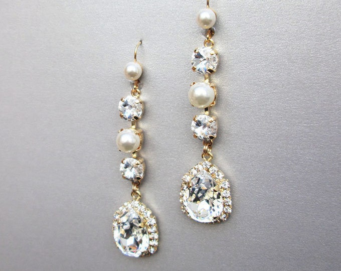 Bridal crystal earrings, Swarovski crystal and pearl wedding drop earrings, Long earrings, Bridal rhinestone earrings in gold or silver