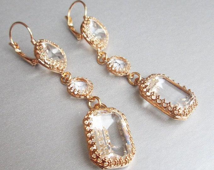 Transparent Swarovski crystal bridal earrings, Emerald cut drop earrings, Linear earrings in gold, silver, rose gold, Long Wedding earrings