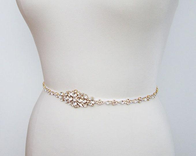 Swarovski crystal skinny bridal belt sash, Wedding belt sash, Rhinestone bridal belt, Skinny bridal belt sash full length, Swarovski sash