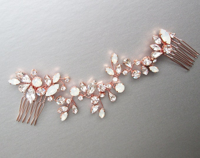 Swarovski crystal bridal hair vine, Bridal hair comb, Wedding hair comb in rose gold, gold, silver, Opal bridal rhinestone headpiece