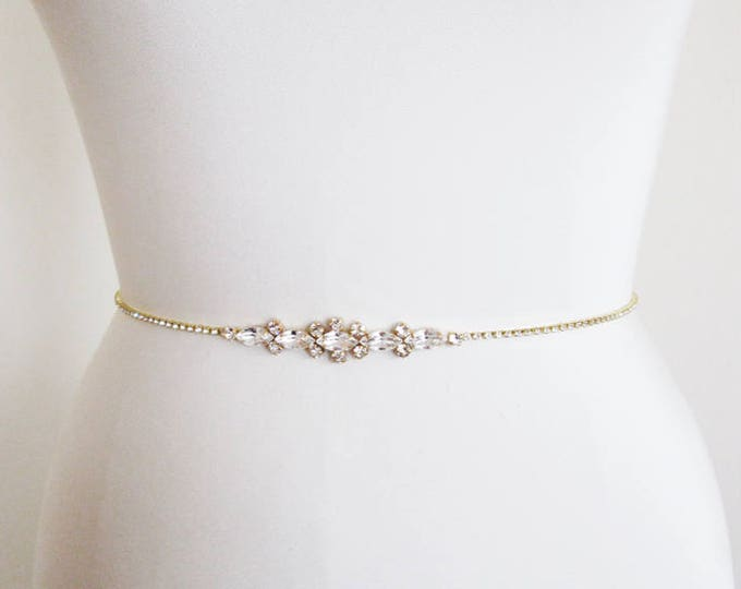 Swarovski bridal belt, Super skinny bridal belt, Dainty crystal belt sash, Swarovski crystal belt, Thin belt in gold, silver, rose gold