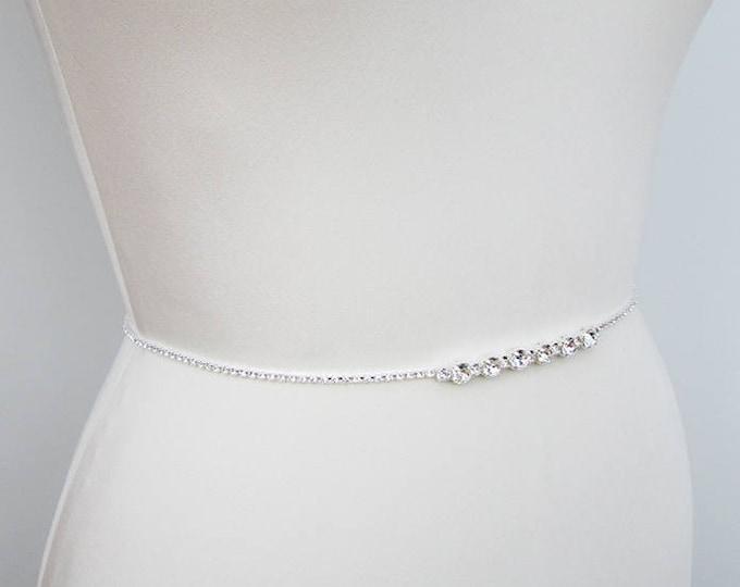 Bridal belt sash, Super skinny bridal belt, Dainty crystal belt sash, Swarovski crystal bridal belt sash, Super skinny rhinestone belt