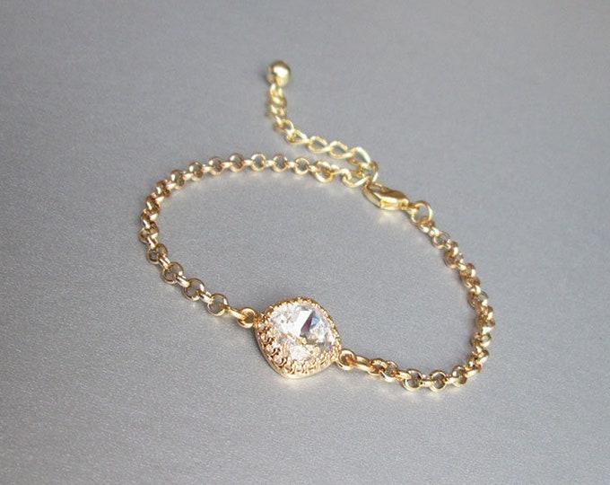 Swarovski crystal bridal bracelet, Swarovski bracelet, Wedding crystal rhinestone bracelet in gold or silver, Sparkly bridal bracelet