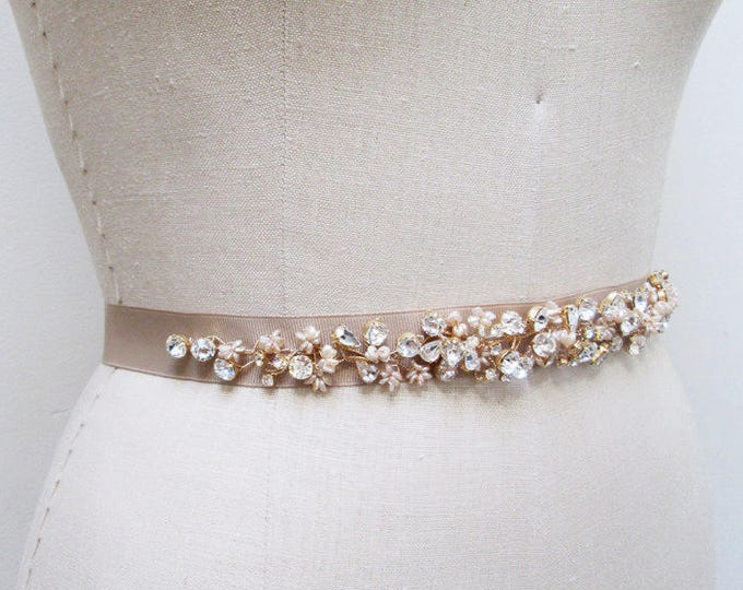 Bridal crystal belt sash, Pink pearl and crystal belt, Crystal and pearl bridal belt sash in mauve, Swarovski belt sash, 1 inch belt