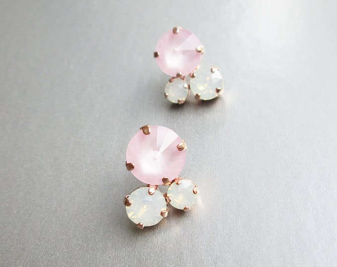 Swarovski crystal bridal earrings, Opal and pastel pink crystal studs, Stud rhinestone wedding earrings in gold, silver, rose gold