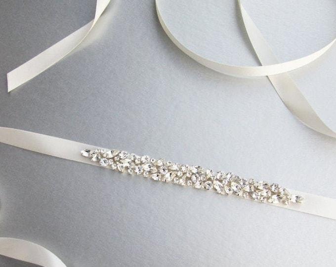 READY TO SHIP - Bridal belt sash, Swarovski bridal crystal sash, Wedding belt sash, Crystal belt, Rhinestone bridal belt in silver finish