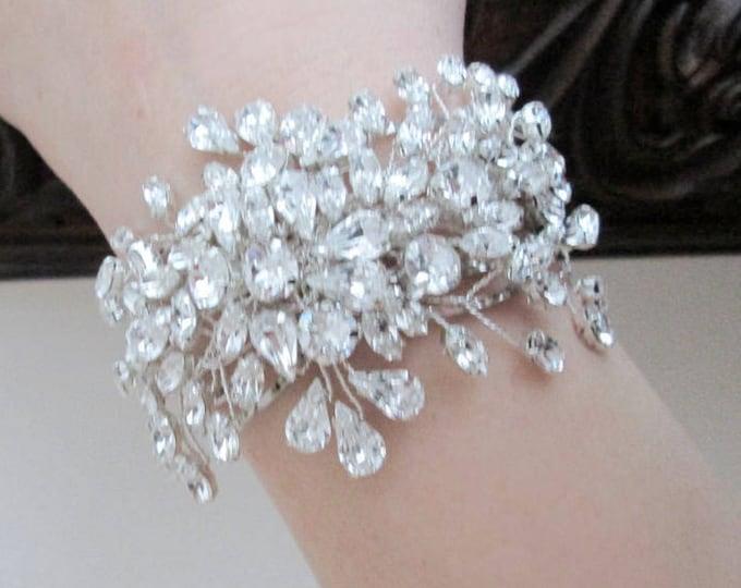 Swarovski crystal bridal bracelet, Swarovski cuff bracelet, Wedding crystal rhinestone bracelet in gold or silver