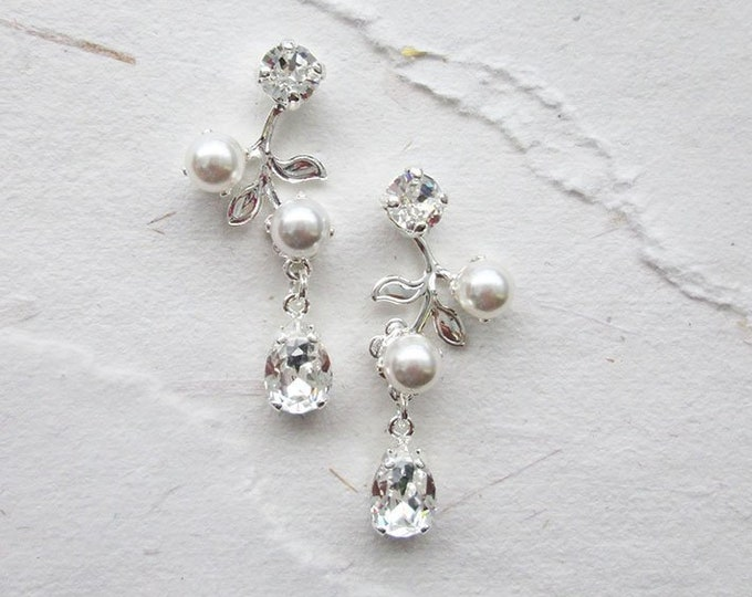 Bridal Swarovski earrings, Vintage style crystal and pearl earrings, Wedding floral Vine leaf drop earrings in gold, silver, rose gold