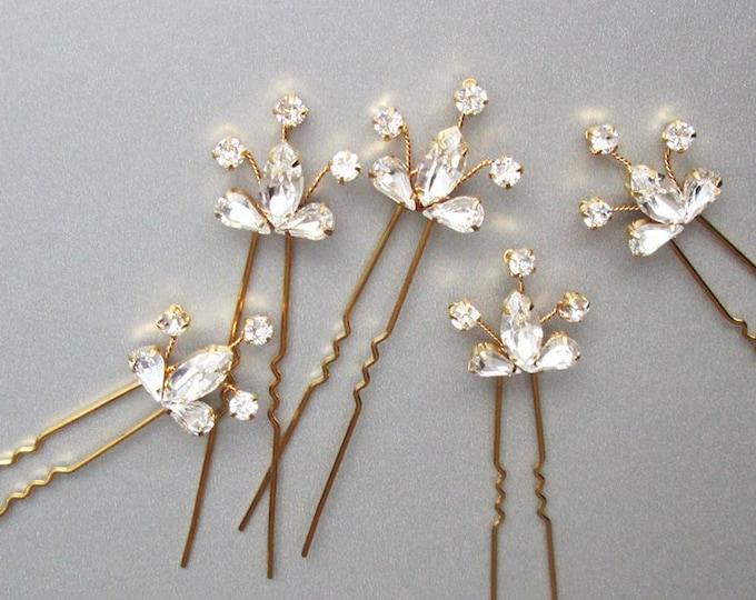 Swarovski crystal hair pins, Bridal crystal hair combs, Wedding hair pins, Dainty Swarovski crystal pins, Sparkly bridal spray pins combs
