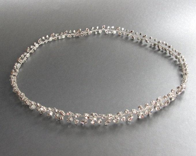 Skinny bridal belt with hook and eye closure, Crystal wedding belt, Petite crystal belt in gold or silver, Sparkly bridal belt, Swarovski