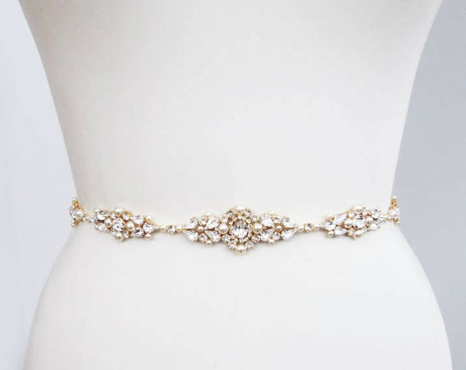 Bridal belt, Swarovski bridal belt sash, Wedding belt in Gold, Silver, Rose gold, Rhinestone bridal belt, Skinny belt sash crystal and pearl