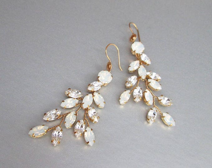 Opal Bridal crystal earrings, Swarovski opal earrings, Leaf branch earrings, Wedding crystal gold earrings,Rhinestone bridal silver earrings