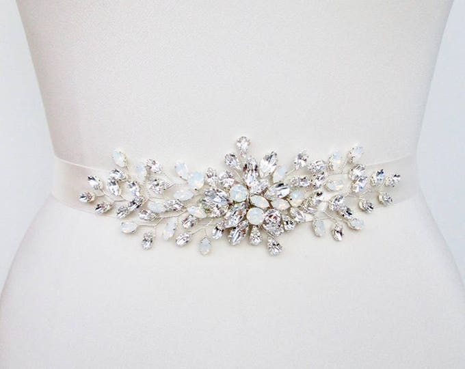 Opal bridal Swarovski belt, Crystal belt sash in gold, silver, rose gold, Wedding belt, Waist sash, Opal bridal belt, Opal crystal belt