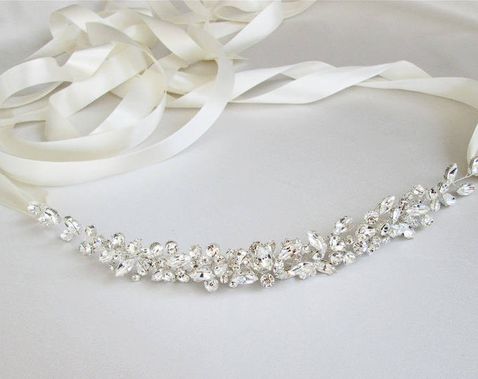 Swarovski floating crystal belt, Bridal belt sash, Crystal sash, Wedding Sash, Swarovski belt sash, Ribbon sash, Rhinestone belt