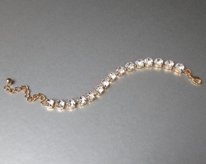 Swarovski crystal bridal bracelet, Rose gold bracelet, Wedding crystal rhinestone bracelet in gold or silver, Sparkly bridal bracelet