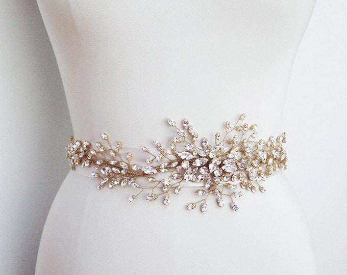 Luxe bridal belt sash, Bridal Swarovski crystal belt sash, Wedding crystal belt, Swarovski crystal floral belt, Gold or silver belt
