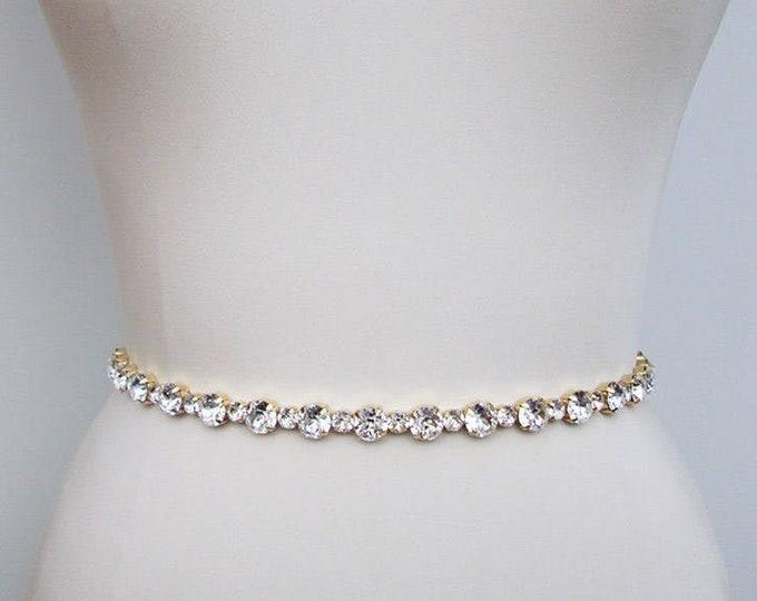 Xirius Chaton bridal belt, Bridal belt sash, Simple bridal belt, Swarovski crystal wedding belt, Rhinestone belt in gold or silver