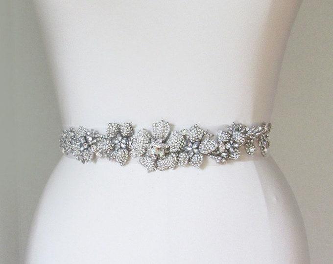 Bridal sash belt in silk organza with crystals, Wedding belt sash, Ribbon sash, Bridal crystal belt, Rhinestone belt sash