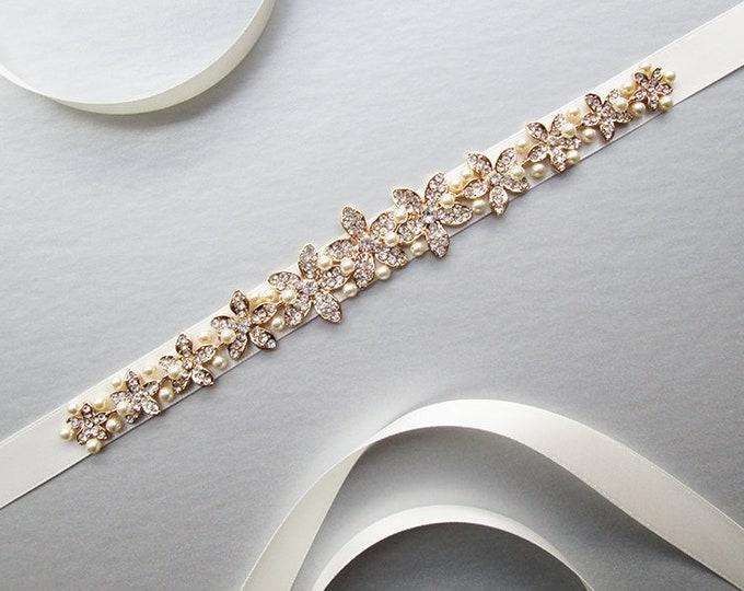 Bridal crystal and pearl belt, Wedding belt sash, Crystal rhinestone belt, Waist sash, Bridal satin pearl belt in gold or silver