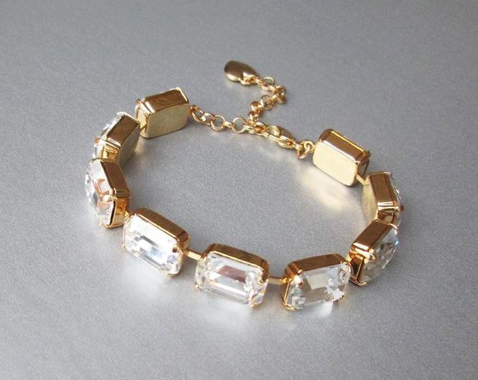 Swarovski crystal bridal bracelet, Gold bracelet, Wedding rhinestone bracelet in gold, silver, rose gold, Emerald cut crystal bracelet