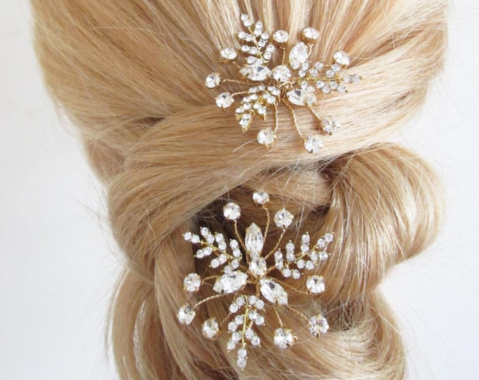 Swarovski hair pins, Bridal crystal hair pins, Swarovski hair pins, Sparkly leaf hair pins, Bridal hair pins in gold, silver, rose gold