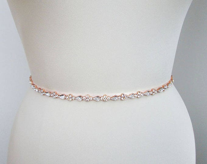 Rose gold bridal belt, Skinny bridal belt sash, Bridal crystal sash, Crystal wedding belt - full length, Swarovski crystal belt sash