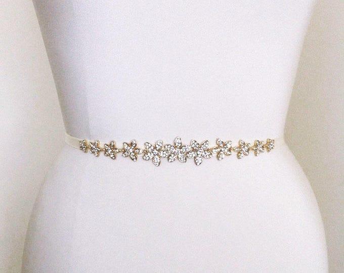 Petite crystal bridal belt, Wedding belt sash, Crystal rhinestone belt, Waist sash, Bridal crystal sash in gold or silver